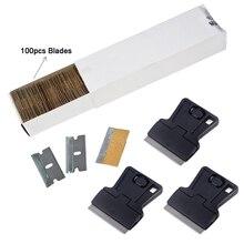 EHDIS 100 Chiếc Xe Vệ Sinh Dụng Cụ Vắt Lưỡi Dao 3 Carbon Fiber Vinyl Thép Không Gỉ Dao Cạo Cạp Dán Kính Miếng Dán Tẩy Cửa Sổ tint Dụng Cụ
