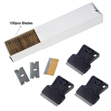 EHDIS 100pcs Car Cleaning Squeegee Blade 3pcs Carbon Fiber Vinyl Steel Razor Scraper Glass Glue Sticker Remover Window Tint Tool