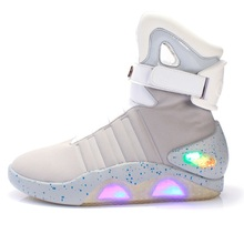 High Top LED Shoes Light Up For Men LED Sneakers USB Recharging Air Shoes Back To The Future Flashing Shoes Mag LED Grey
