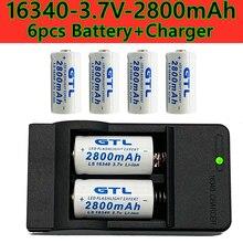 2021 novo 16340 recarregável, bateria de íon de li 3.7 v e 2800 mah, cr123a, caneta laser, lanterna led com vendas de carregador