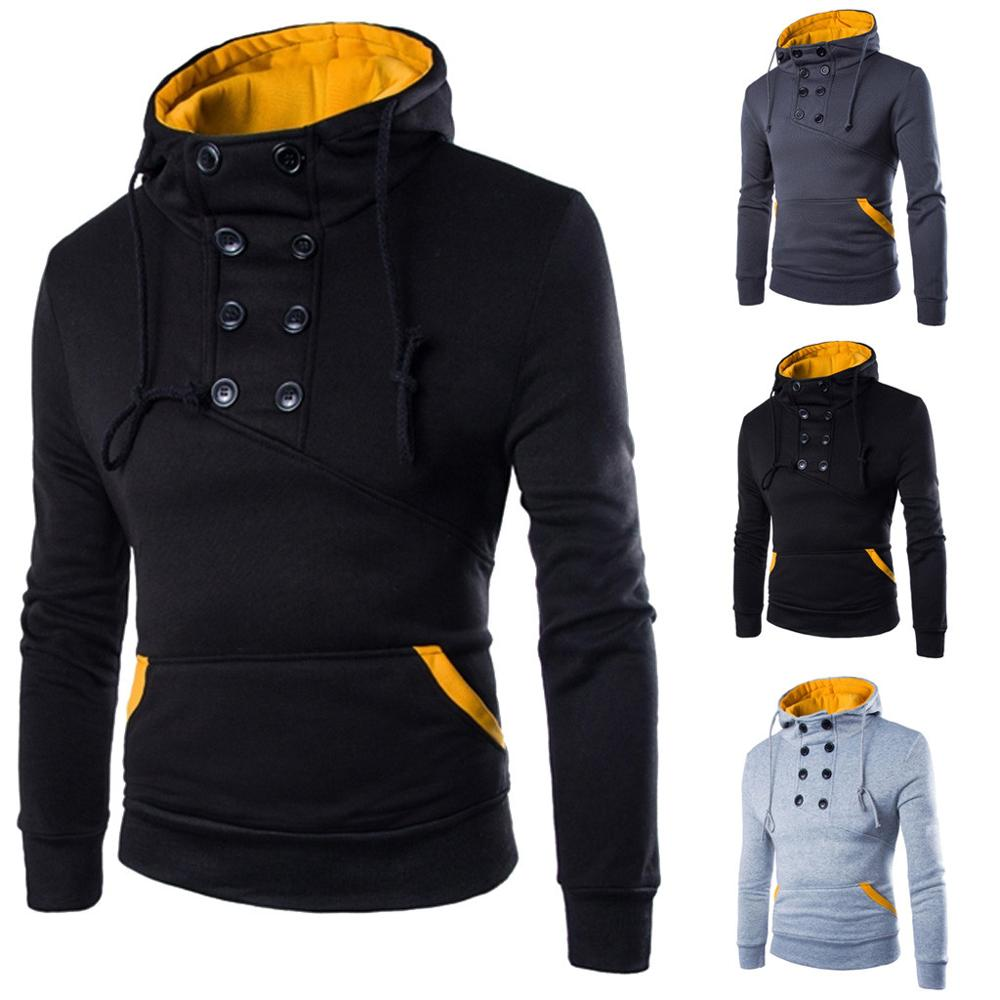 Free Shipping New Double Breasted Pullover Men's Short Fit Hoodie