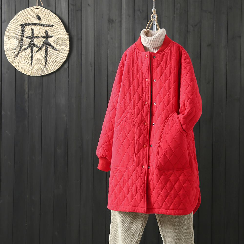 Plus Size Women's Parka Coat Warm Jacket Female Overcoat 2020 New Autumn Winter Thin Cotton Quilted Coat Vintage Red Outerwear