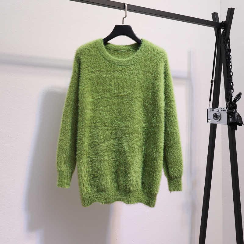 אנגורה סוודרים נשים 2019 חורף רך סרוג חולצות O-צוואר מקרית Loose סריגי צבעים בוהקים נשי חם רך סוודרי אישה