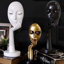 Nórdico abstrato pensador de arte pensando senhora máscara estatueta resina estátua escritório tv gabinete decoração para casa artesanato
