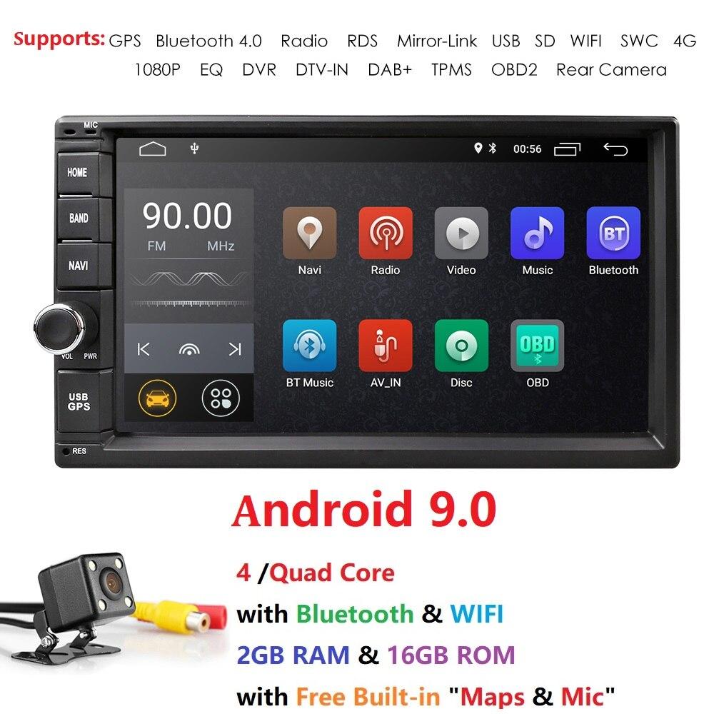 Hizpo ad717009 - Hizpo Quad Core 7 2Din Android 9.0 Car NO-DVD Radio Multimedia Player 1024*600 Universal GPS Navigation auto radio Stereo Audio