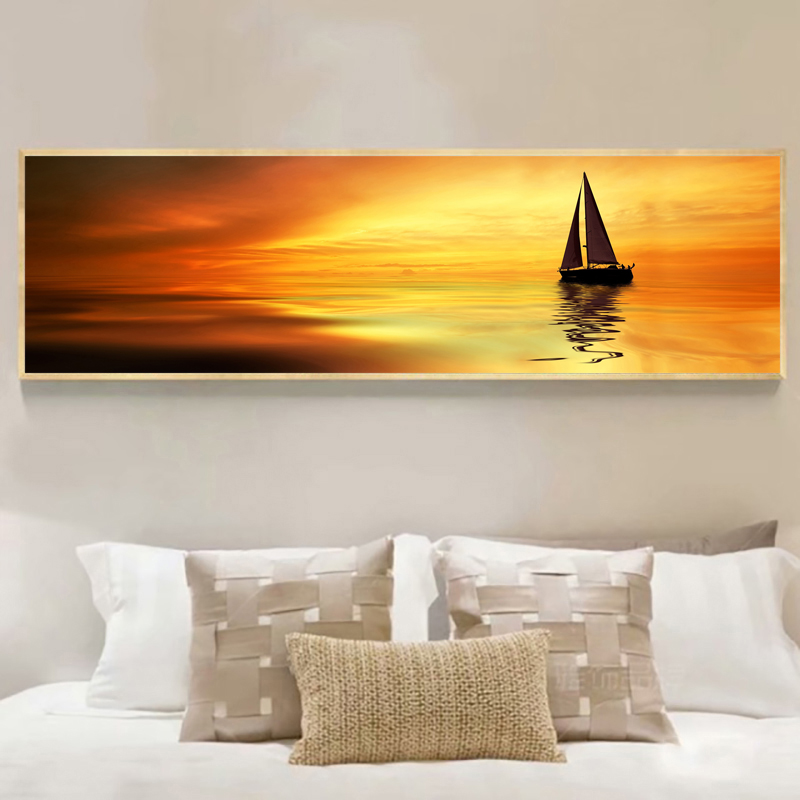 Yuke Art Posters and Prints Wall Art Canvas Painting Golden Sunset Boat Posters Wall Art Pictures For Living Room Home Decor