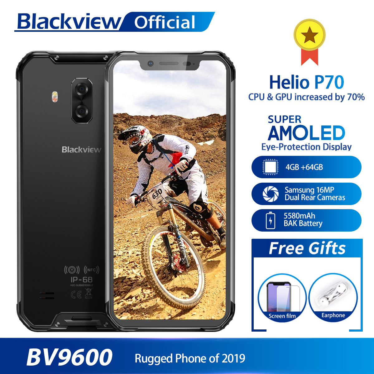 "Blackview 2019 New BV9600 Waterproof Mobile Phone Helio P70 Android 9.0 4GB+64GB 6.21"" 19:9 AMOLED 5580mAh Rugged Smartphone"