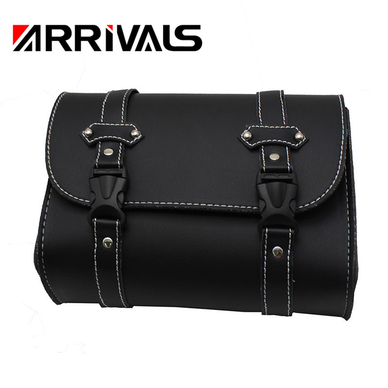 Saddlebags Leather Storage Luggage Bags Front Tool Pouch For Harley Sportster Universal Motorcycle