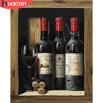 HUACAN Painting By Number Red Wine Drawing On Canvas HandPainted Painting Art Gift DIY Pictures By Number Kits Home Decoration
