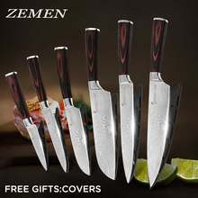 "ZEMEN 6 Pieces Stainless Steel Knife Set Color Wood Handle Kitchen Knife Damascus Pattern 3.5"" 5"" 5"" 7"" 8"" 8"" Cooking Tools(China)"