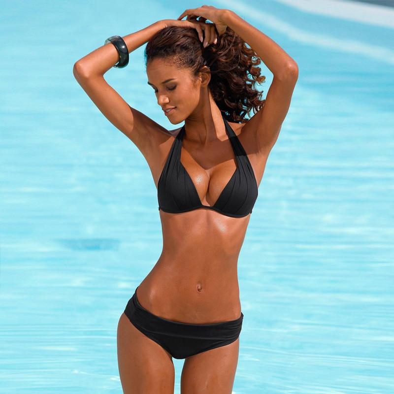 Push Up Bikini 2020 Two Piece Swimsuit Women High Waist Black Pink Bikini Set Plus Size Swimwear Beach Bathing Suits Bikinis 2XL 5