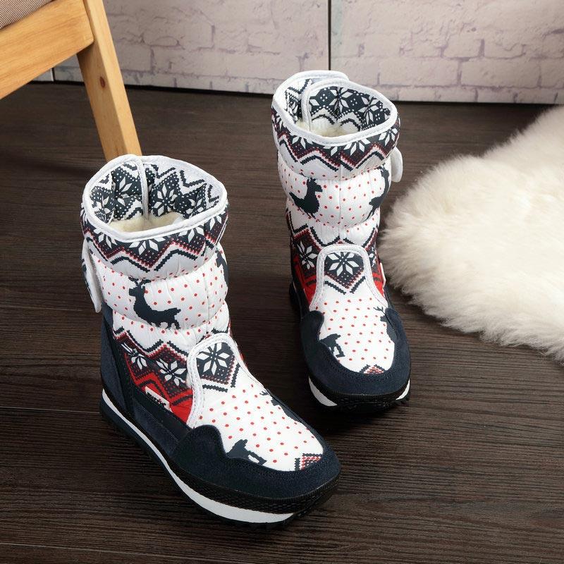 Женские зимние ботинки, Нескользящие теплые бархатные ботинки, женская обувь, брендовые модные стильные водонепроницаемые женские ботинки с рождественским оленем Зимние сапоги      АлиЭкспресс