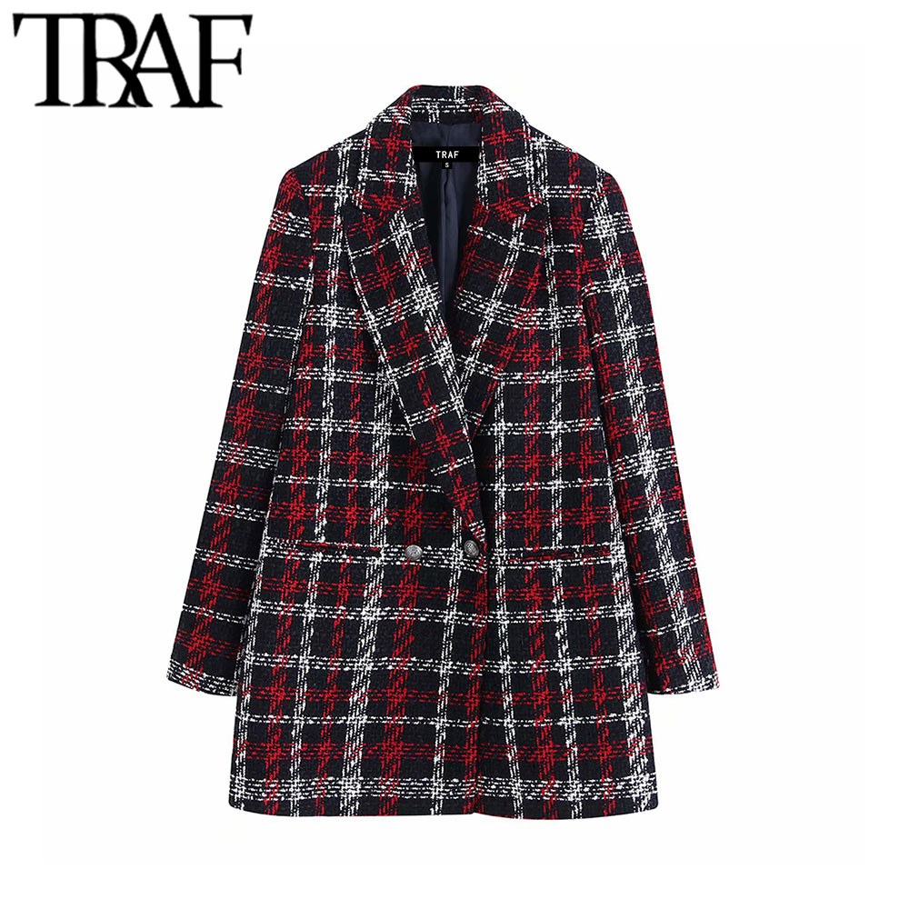 TRAF Women Office Lady Plaid Double Breasted Tweed Blazer Coat Vintage Fashion Long Sleeve Pockets Ladies Outerwear Chic Tops