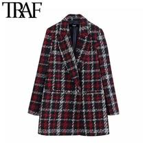 TRAF Women Office Lady Plaid Double Breasted Tweed Blazer Coat Vintage Fashion L