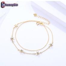 Genuine S925 Sterling Silver Star Zircon Bracelet Womens Fine Hexagram Double