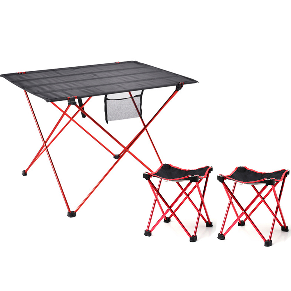 HooRu Picnic Table Chairs Set Portable Folding Camping Table with Stools Lightweight Outdoor Backpack Beach Hiking Camping Set