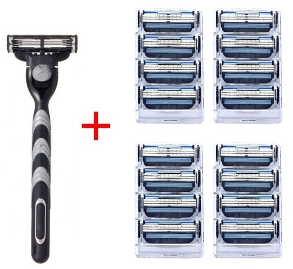 1Holder + 16Pcs Compatible MACH 3 Razor Blade Manual Three-layer Razor Blade Shaver Razor Blade Replacement Gillettee