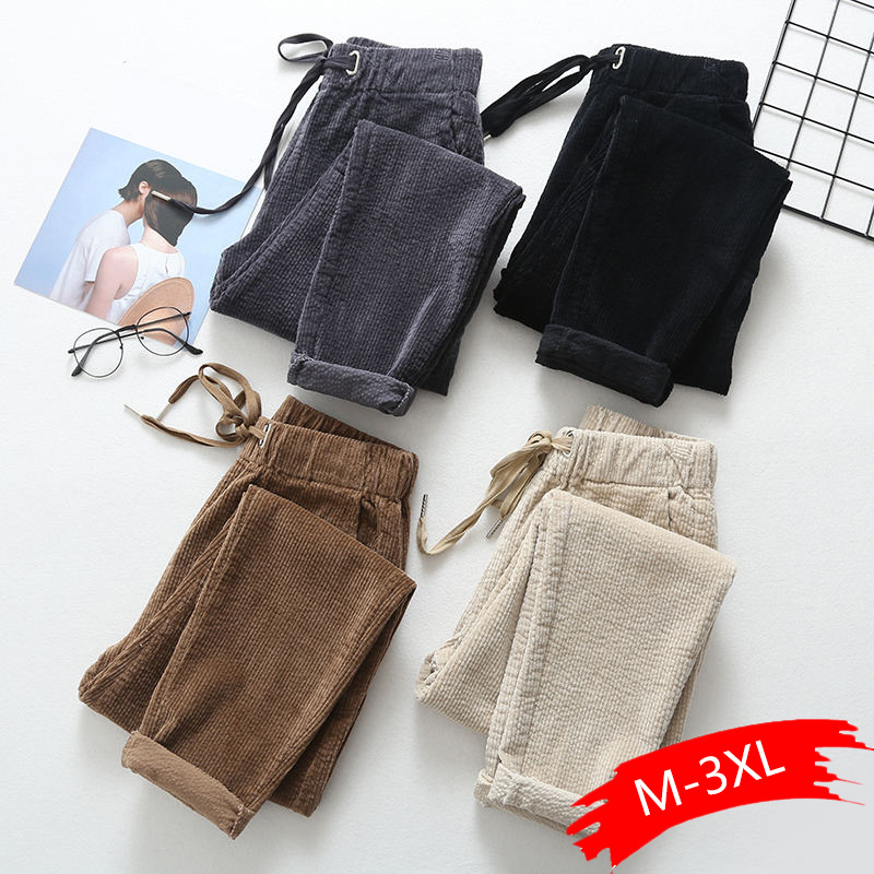 Vintage High Waist Corduroy Pants Women Casual Autumn Winter Thicken Warm Harem Pants Harajuku Pantalones Corduroy Trousers