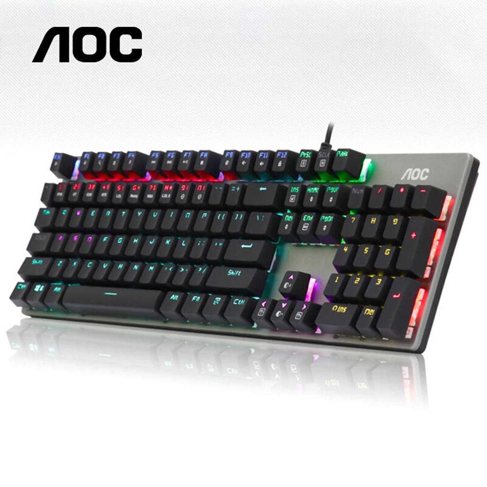 104 tasti tastiera meccanica da gioco retroilluminazione RGB interruttore cablato USB blu AOC GK140 PC Computer portatile tastiera leggera colorata
