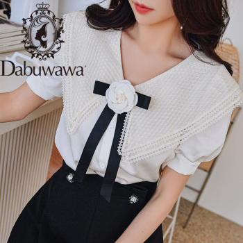 Dabuwawa Summer Sweet Turn-down Collar Blouse Women Puff Sleeve Appliques Floral Bow Solid Casual Shirts Tops Female DT1BST021 girls plaid blouse 2019 spring autumn turn down collar teenager shirts cotton shirts casual clothes child kids long sleeve 4 13t