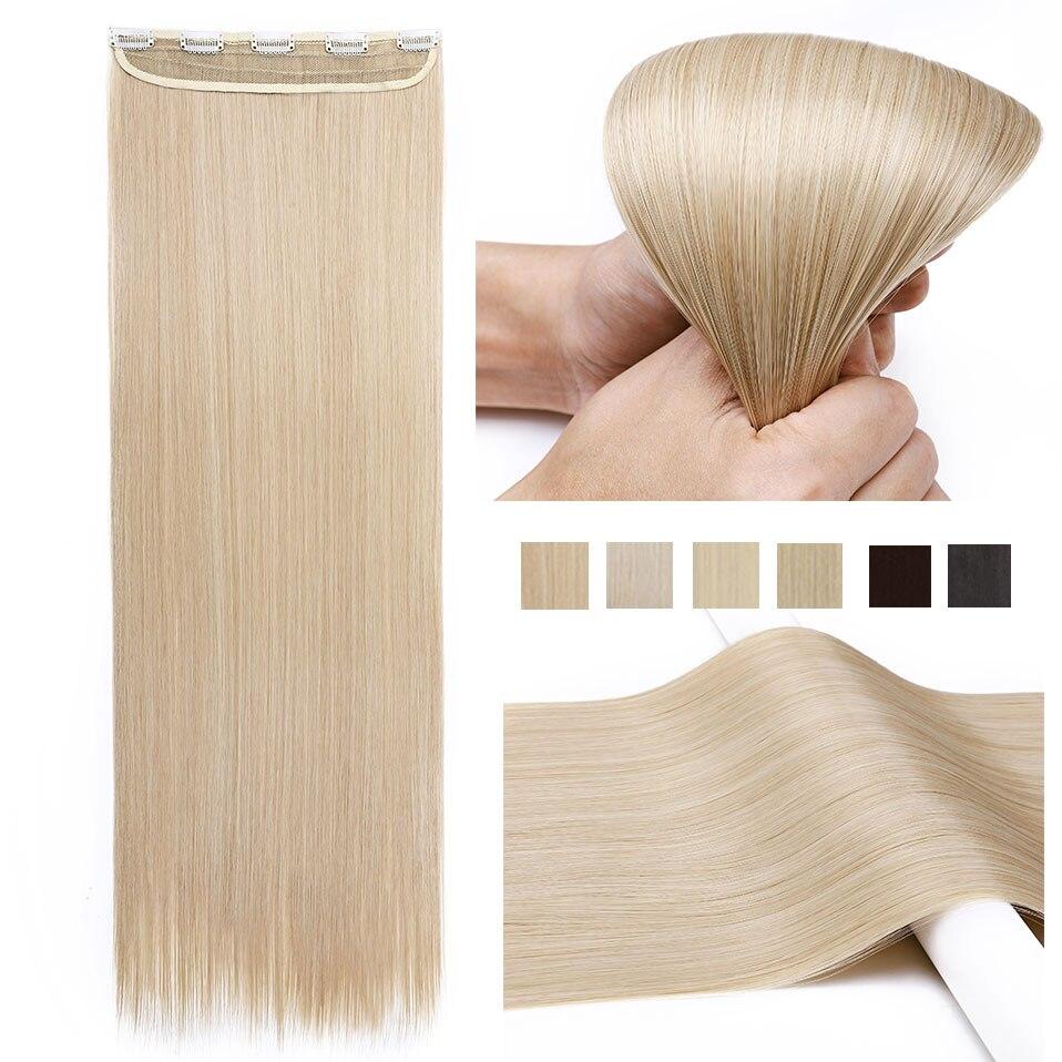 pince s noilite dans les extensions de cheveux noir brun naturel droit 58 76cm de longueur haute tempreture synthetique extension de cheveux postiche