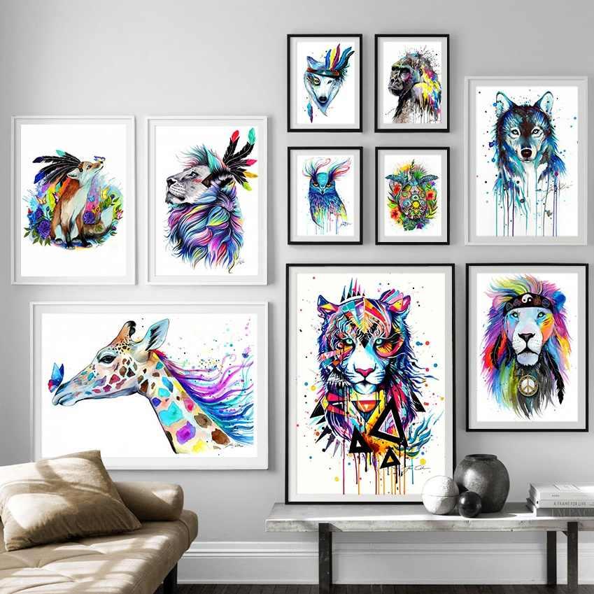Watercolor Lion Tortoise Gorilla Wolf Fox Animal Wall Art Canvas Painting Posters And Prints Wall Pictures For Living Room Decor