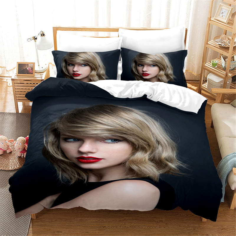 Taylor Girl Singer Celebrity 3d Bedding Set Duvet Covers Pillowcases Taylor 1989 Comforter Bedding Sets Bedclothes Bed Linen