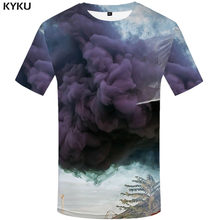 KYKU Cloud T-shirt Mannen Psychedelische Grappige t-shirts Harajuku Tshirts Casual Anime Kostuum Anime Kleding Retro T-shirt Gedrukt(China)