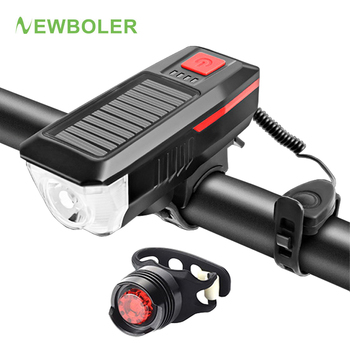 NEWBOLER LED Bike Front Rear Light Set Bicycle Light 350 Lumen Flashlight For Cycling Solar USB Rechargeable Bike Accessories q5 450 lumen cycling bike led flashlight torch front head light with mount bike led light bicycle