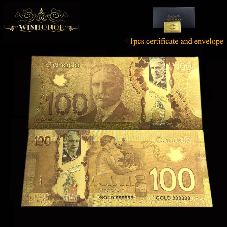 10 шт./лот красивые канадские золотые банкноты 100 канадские доллары за сувенирные подарки