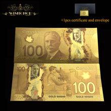10 pçs/lote nice canada cor notas de ouro 100 dólar canadense bill dinheiro para presentes lembranças