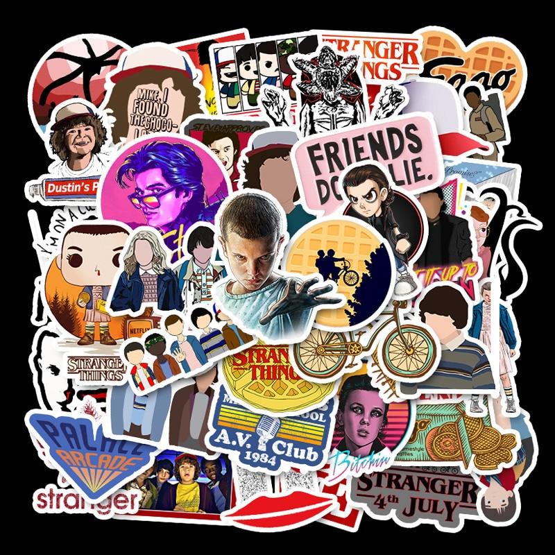2019 50pcs Stranger Things Stickers Pack Anime Pegatina For Kids On Laptop Fridge Phone Skateboard Suitcase Funny Cool Sticker