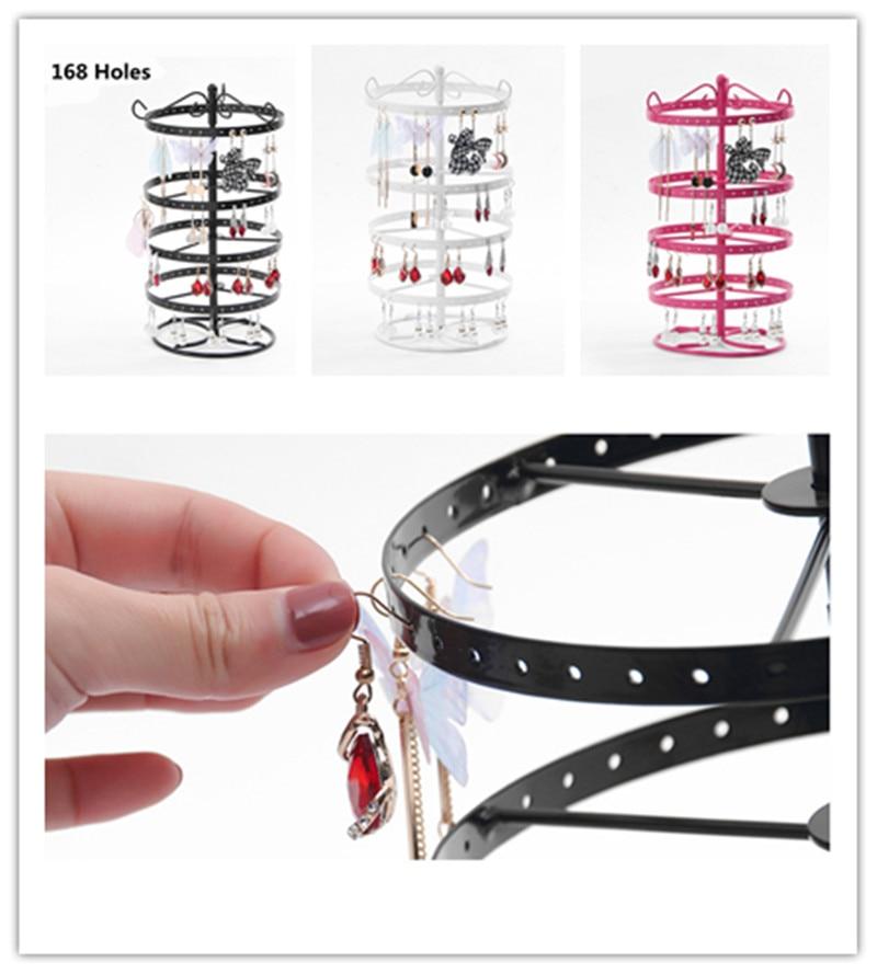 168 Holes Earrings Ear Stud Jewelry Organizer Necklace Jewelry Display Stand Metal Rotating Storage Holder Jewelry Organizer