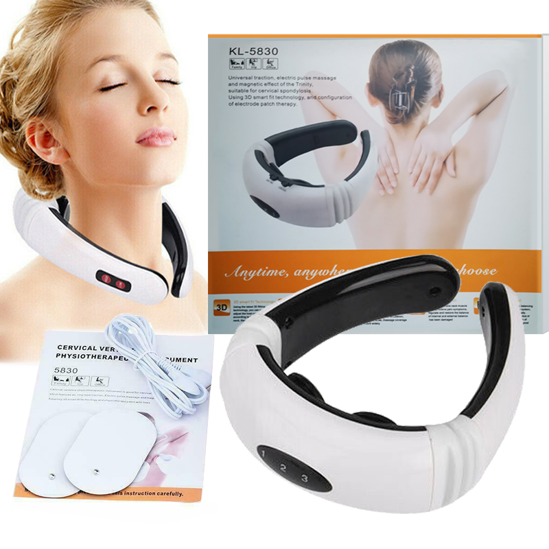 Electric Cervical Tens Unit Pulse Massager Neck Shoulder Muscle Magnetic Meridian Therapy Vertebra Relax