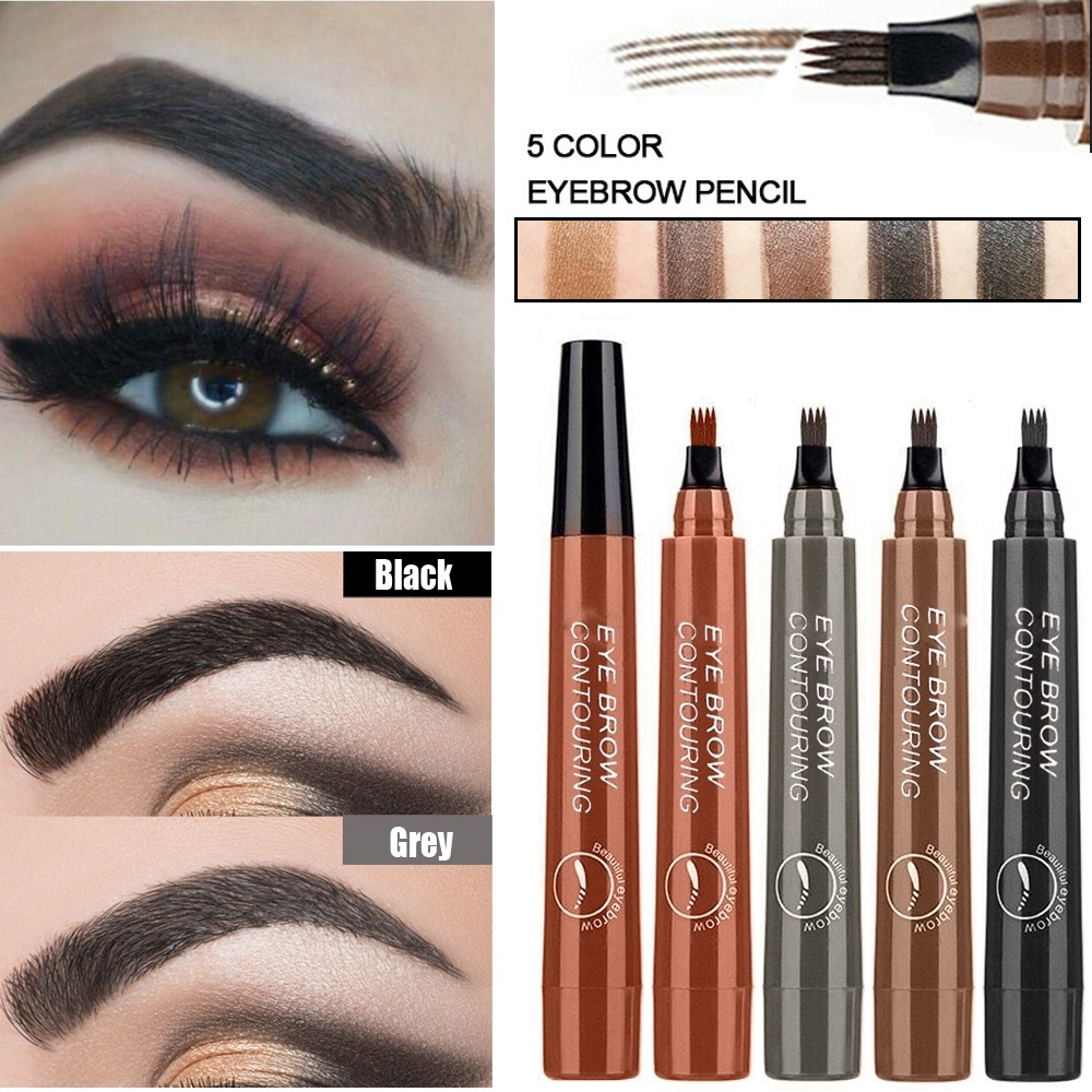 2019 Hot Sale 5Colors Waterproof Eyebrow Pencil Pen Tint Cosmetic Natural Long Lasting Eyeliner Eyebrow Tattoo Gray Brown Makeup