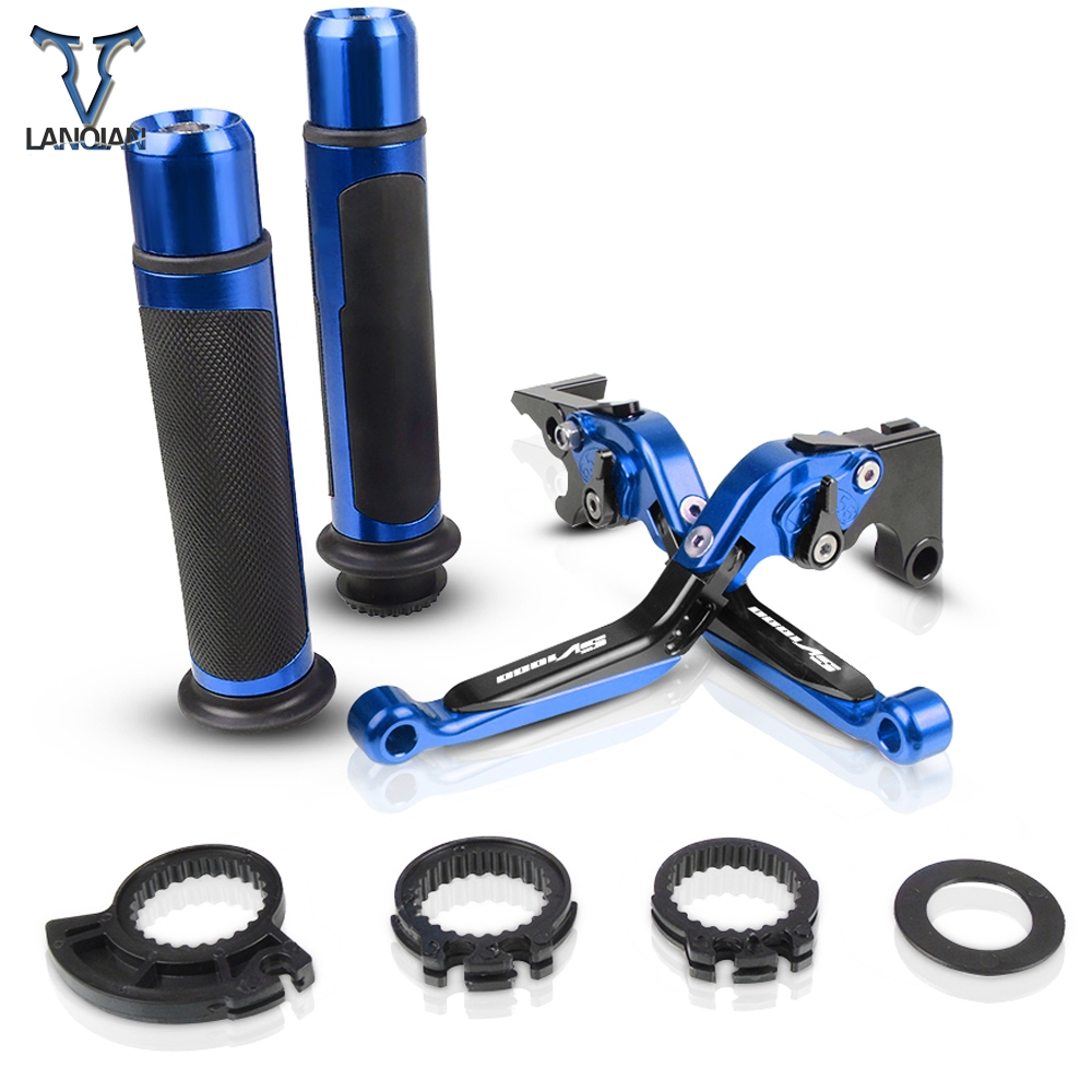 Motorcycle Accessories CNC Adjustable Brake Clutch Levers And Handle Grips With LOGO For <font><b>SUZUKI</b></font> <font><b>SV1000</b></font> <font><b>2003</b></font> 2004 2005 2006 <font><b>2007</b></font> image