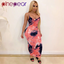 PinePear Tie Dye Spaghetti Strap Maxi Dresses Women 2020 Sum