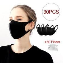 Masque facial noir, 30 pièces, anti-poussière, respirant, en coton, Alan Walker, en soie, lavable
