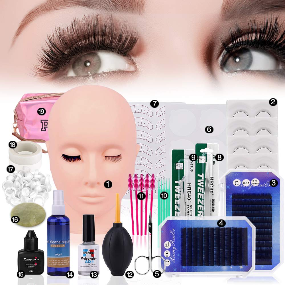 19 шт. Набор для обучения наращиванию накладных ресниц макияж прививки ресниц подушечки для глаз Пинцет манекен голова комплект