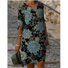 Women Shift Dress Knee Length Dress - Half Sleeve Floral Color Block Summer Fall V Neck Casual Hot vacation dresses Loose 2021