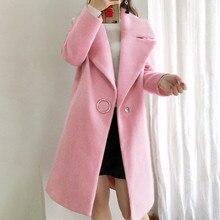 SAGACE женское модное повседневное шерстяное пальто средней длины с длинным рукавом однотонное женское осенне-зимнее шерстяное пальто Свободное пальто
