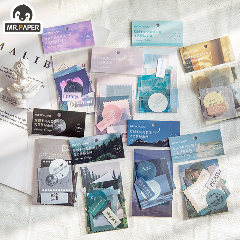 Mr.paper 8 Designs Artistic Fantasy Sky Ins Collage Deco Stickers Scrapbooking Bullet Journal Popular Deco Stationery Stickers