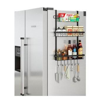Kitchen Rack New Refrigerator Seasoning Rack Free Punch Rack Side Storage Rack for Bathroom Kitchen Refrigerator Cabinet