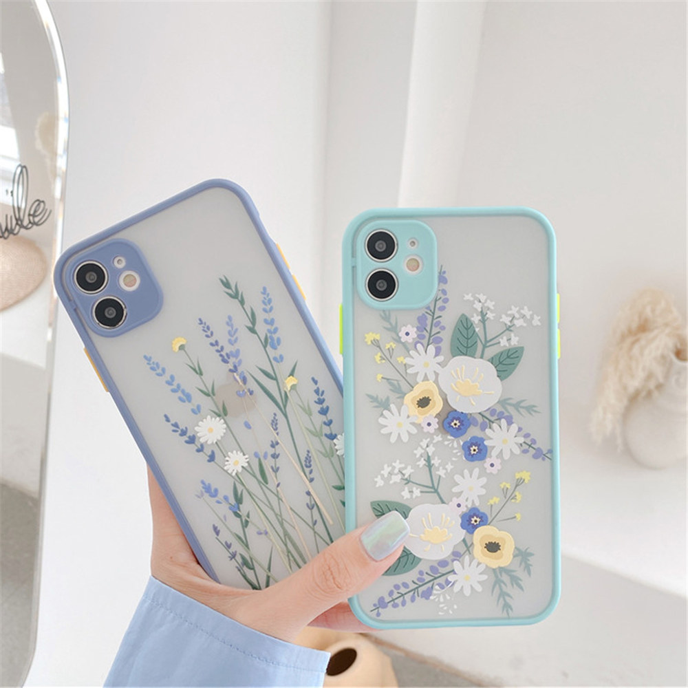 Fashion Flower Phone Case For iPhone 11 Pro X XR XS Max 8 7 Plus SE2020 Floral Transparent Lens Protection Hard PC Cover