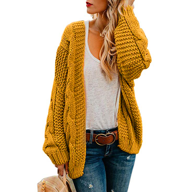 2019 Open Front Cardigan Sweaters Winter Autumn Women Sweater Knitted Long Sleeve Knitwear Girl Casual Outerwear Femme Top Color
