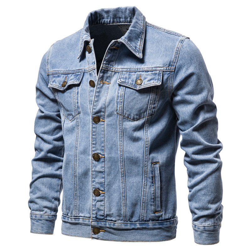 Jeans Jacket Slim-Fit Men Autumn Casual Cotton Single Breasted Lapel Solid Quality New