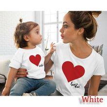 Летняя одежда «Мама и я», принт с сердцем, футболка Семейные костюмы Одежда для мамы и дочки 4 цвета одежда дочь мамы подходящая друг к другу одежда