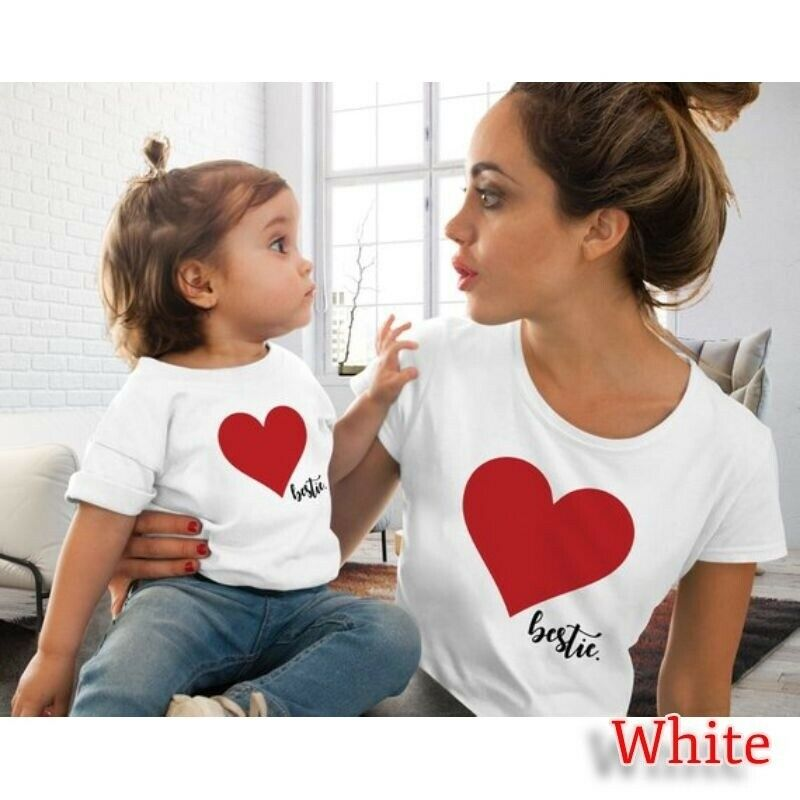 Summer Mommy And Me Clothes Heart Print T Shirt Family Costumes Baby And Mom 4 Colors Clothes Mommy Daughter Matching Outfits