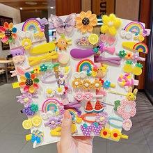 14 unids/set nuevas chicas lindo colorido de dibujos animados horquillas de flor de los niños dulce horquillas para cabello diadema accesorios de moda para el pelo de
