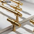 Твердый латунный мебельный светильник с Т-образными ручками  роскошный модный Золотой шкаф  комод  шкаф  выдвижные ящики